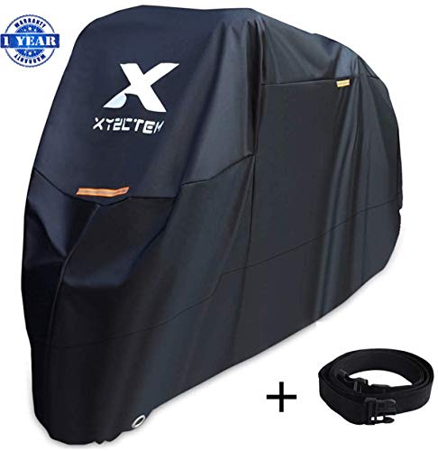 (XYZCTEM Motorcycle Cover -Waterproof Outdoor Storage Bag,Made of Heavy Duty Material Fits up to 116 inch, Compatible with Harley Davison and All motors(Black& Lockholes& Professional Windproof Strap))