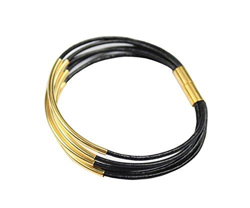AaaZee Black Leather Gold Charm Bracelet Magnetic - Bracelets Gold Black Strand