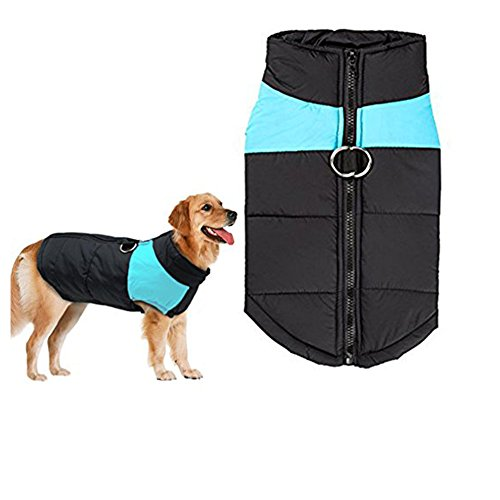 Fleece Waterproof Vest - Winter Dog Coat Vest - Small Waterproof Dog Coat Fleece Lined For Warmth, Chest Protector Puffer Pet Dog Puppy Clothes Vest For Autumn Winter (5XL(Weight:53-66lb Back:24.39inch), Blue)