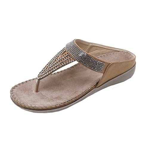 Rider Classic Thong - FORUU Women Flat Shoes Bead Bohemia Lady Slippe Sandals Peep-Toe Outdoor Shoes Slipper Khaki