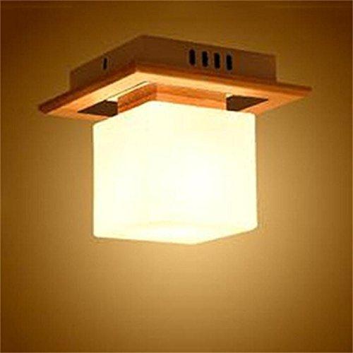 Japanischer Holz- einfach mit einem einzigen Kopf LED-Decke Eingang Flur Schlafzimmer Balkon Gang quadratisch LED Deckenleuchte (Style Option) (Nicht die Lichtquelle) (Style  1)