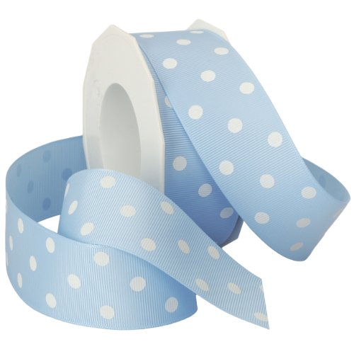 White Topaz Ribbon - Morex Grosgrain Dot Ribbon, 1-1/2-Inch by 20-Yard Spool, Blue Topaz with White Dots