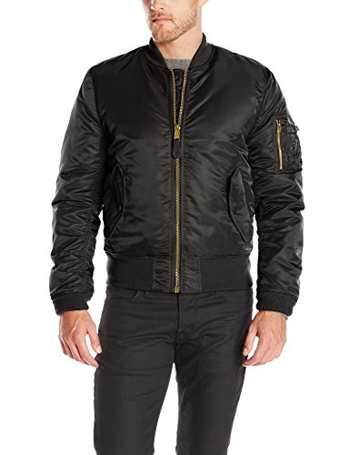 - Alpha Industries Men's MA-1 Slim Fit Flight Bomber Jacket, Black, Medium