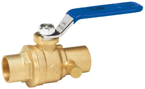 Homewerks 119-4-34-34 No-Lead Full Port Ball Valve with Drain with 1/4-Turn Solder x Solder, Brass, 3/4-Inch ()