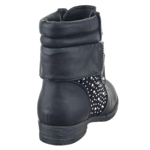 Sopily - Zapatillas de Moda Botines Botas militares A medio muslo mujer encaje - strass Talón Tacón ancho 3 CM - plantilla textil - Negro