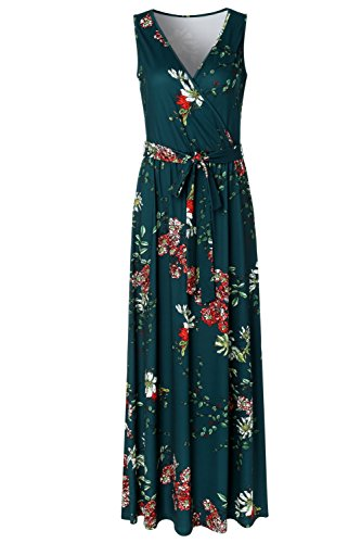 Zattcas Womens V Neck Sleeveless Empire Waist Floral Maxi Dress (X-Large, ()