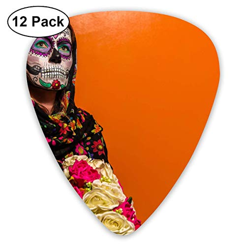 Anticso Custom Guitar Picks, Blooming Bouquet Delicate Eyes Face Paint Girl Halloween Headscarf Guitar Pick,Jewelry Gift For Guitar Lover,12 Pack ()