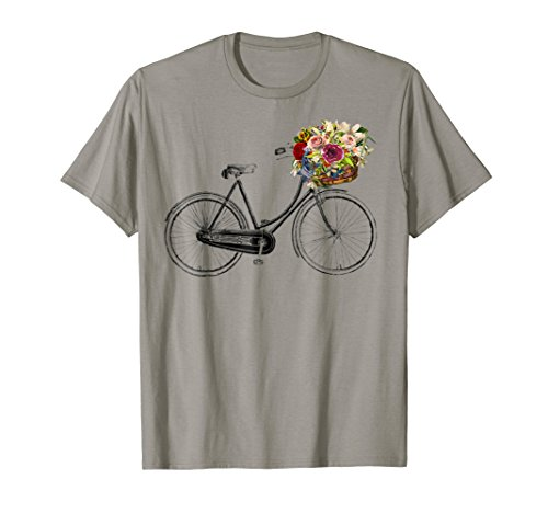 Vintage Sketch Drawing Bike Bicycle Flower Basket T-Shirt ()