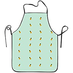 Sandayun88x Apron Summer Pineapple Ananas Pattern Aprons Bib Adult Lace Adjustable Polyester Chef Cooking Long Full Kitchen Aprons For Outdoor Restaurant Cleaning Serving Crafting Gardening Baking Bb