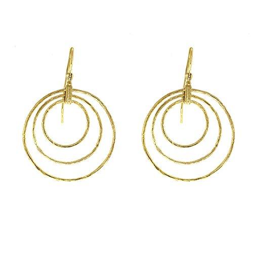 14k Yellow Gold Textured Circles Earrings Carnelian Link Finish