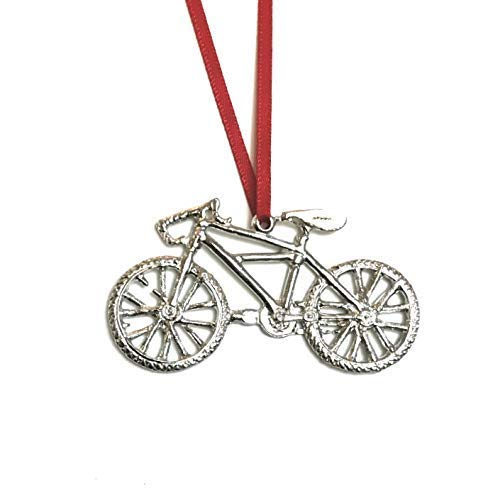 Mountain Bike Biker Bicycle Triathlon Ornament Pewter