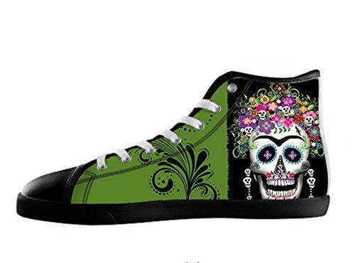 Women's Fashion Canvas Shoes Dia de los muertos Sugar Skull Pattern US 10