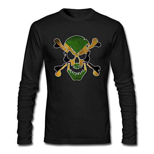 Man Jamaica Skull Flag Jamaican Cotton Athletic Long-Sleeve T-Shirts - Jamaican Flag Sunglasses