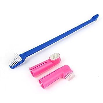 eDealMax Handle Pet Cepillo de dientes 3-en-1 DE dedo cepillos del,