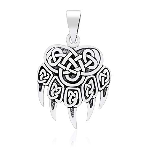 925 Sterling Silver Viking Print Bear Paw Claw Warding Veles Amulet Pendant ()