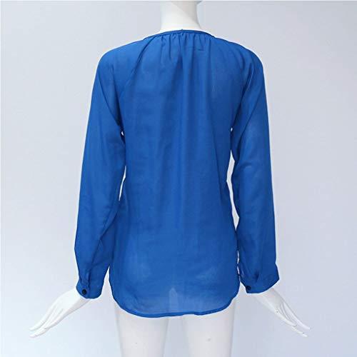 Vrac Printemps Manches col bleu Mousseline Automne Chemisier Haut Soie de Masterein Femme Solides Longues V Bouton en en q6nwwftO