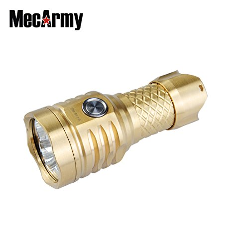 MecArmy PT16 Brass BUNDLE with Key Chain LED Flashlight 1200 Lumens, Rechargeable 16340 Battery, Lanyard, and Mini USB Light by MecArmy (Image #1)