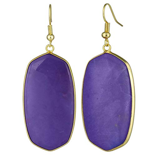 TUMBEELLUWA Crystal Quartz Stone Dangle Hook Earrings Oval Gold Plated, Purple Howlite ()