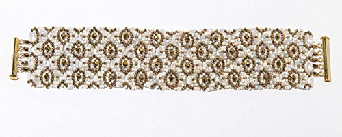 - Bead Woven White and Gold Cuff