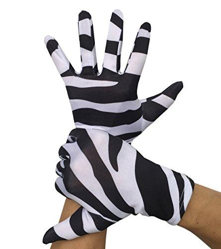 Seeksmile Adult Lycra Spandex Gloves (Free Size, Zebra)