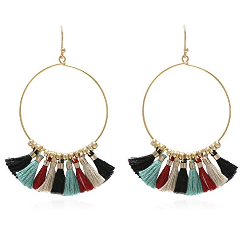Bohemian Handmade Multi Color Tassel with Yellow Gold Plated Dangle Drop Statement Earrings ()
