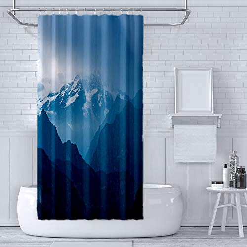 RLDSESS Printing Thicken Waterproof Shower Curtain with Hooks,Printing - Italian Alps Monte Rosa Mountain Range Landscape at sunset-60 Wx72 L