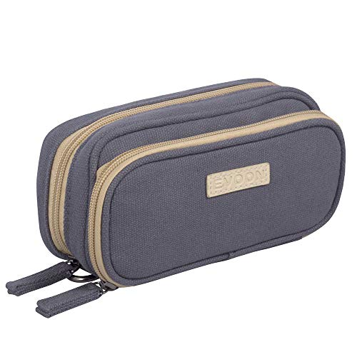 Essential Oil Bag, Durable Canvas Portable Carrying Case for Essential Oils and Accessories Double-Layer Storage Bag Holds 12 Bottles Fits for 5ml,10ml,15ml,100ml and Roller Bottles(Gray)