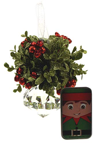 Hickoryville Kissing Krystal Acrylic Christmas Mistletoe Ornament Bundled with Elf Tin Mints ()