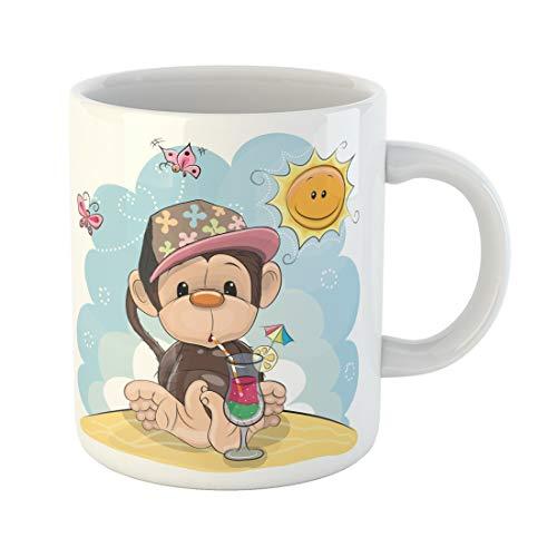 Emvency Funny Coffee Mug Pink Animals Cute Monkey in Cap on the Beach Animated Ape Baby Ball Butterflies 11 Oz Ceramic Coffee Mug Tea Cup Best Gift Or Souvenir -