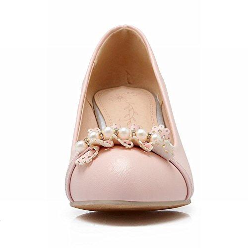 Carolbar Mujeres Sweet Rhinestone Con Cuentas De Borde Decorativo Candy Colors Lolita Barbie Style Chunky Vestido De Tacón Medio De Las Bombas Zapatos Pink