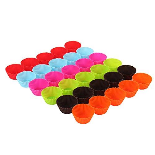 30 Stück = ein Backblech voll wiederverwendbare Muffinformen Cupcake Formen in 6 Farben aus hochwertigem Silikon Muffinförmchen