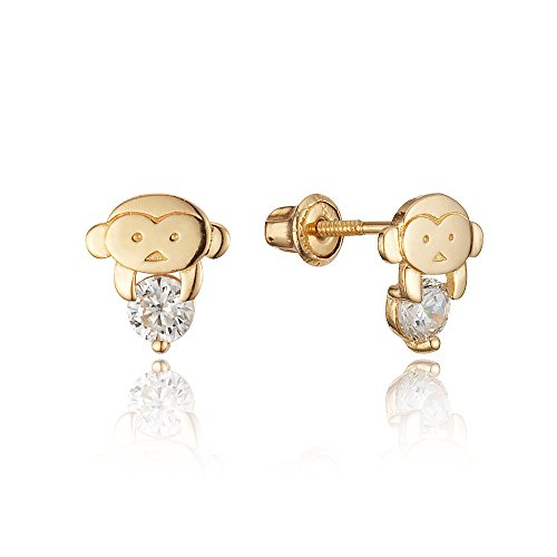 14k Yellow Gold Monkey Cubic Zirconia Children Screwback Baby Girls Stud Earrings 14k Yellow Gold Monkey