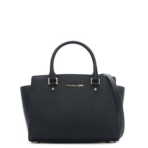 MICHAEL Michael Kors Women's Selma Medium Top Zip Satchel, Navy, One Size