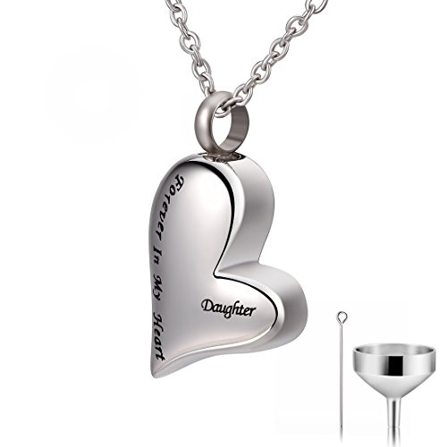 CAT EYE JEWELS Daughter Forever in My Heart Keepsake Memorial Urn Necklace with Funnel Kit