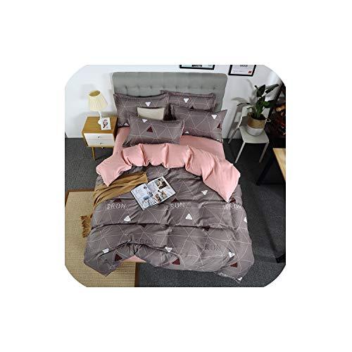 LOVE-JING 3/4Pcs Bedding Set Geometric Duvet Cover Solid Flat Sheet Color Bed Linen Set Leaf Bed Set Ab Side Home Decor Grey Bedclothes,06,Twin 3Pcs,(Flat Bed - Coco 4 Crib Piece Bedding