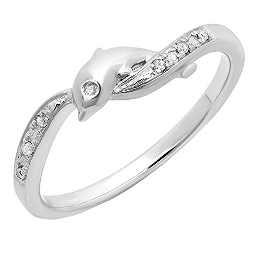 Dolphin Ring Gold White (0.05 Carat (ctw) 10K White Gold Round Cut Diamond Ladies Right Hand Dolphin Ring (Size 10))