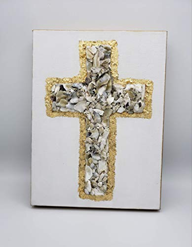 - Oyster Shell Cross, Cross, Oyster Shells, Gold Leaf