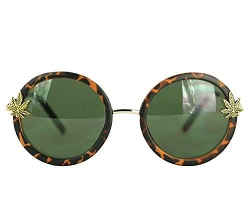 Round Tortoise Shell Sunglasses for Women by Kush Queen - Marijuana Pot Leaf Charms - Fit for a Princess Royal Weed - Leaf Pot Sunglasses