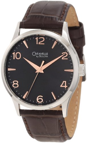 Caravelle by Bulova Men's 43A105 Strap Watch with Rose Gold Dial Markers Watch