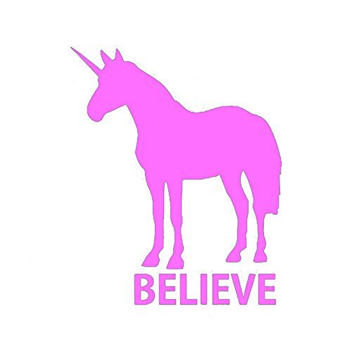 Unicorn Believe Vinyl Decal Sticker | Cars Trucks Vans Walls Laptops Cups | Pink | 5.5 inches | KCD1314P ()
