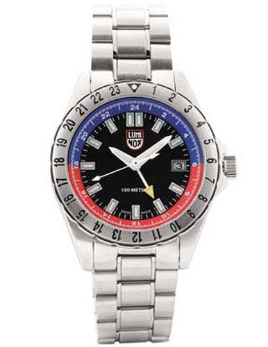 Luminox LU2004 - Reloj de caballero de cuarzo, correa de acero inoxidable color plata