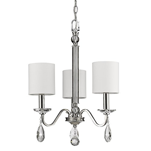 - Acclaim Lighting IN11051PN Lily Indoor 3-Light Mini Chandelier with Shades & Crystal Pendants, Polished Nickel