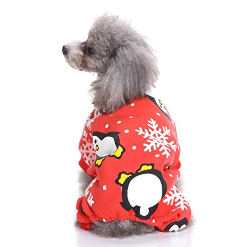 SELMAI Xmas Puppy Fleece Pajamas,Pet Winter Jumpsuit Warm Soft Sweater for Small Dog Cat Cozy Pjs Christmas Costume Clothes Apparel Penguin Red M