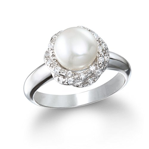 Rhodium Plated Silver Cultured Freshwater Pearl Ring with Braided Shank