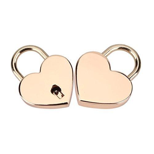 Gold Heart Padlock - Padlock with Key 2Pack,Heart-shaped Skeleton Key Lock Set,Zinc Metal Lock for Luggage Diary Book Jewelry Box(Rose Gold)