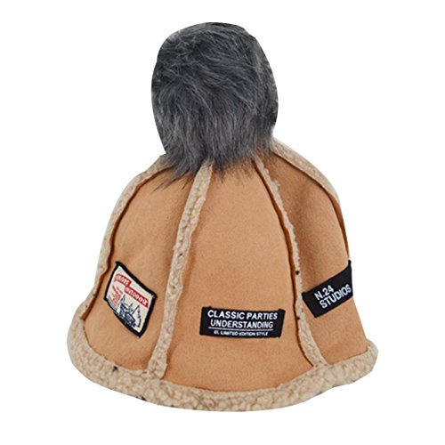Aisa Women Girl Faux Suede Fashion Patchwork Bucket Hat Children Warm Plush Winter Fisherman Hat with Top Ball (Shearling Bucket Hat)