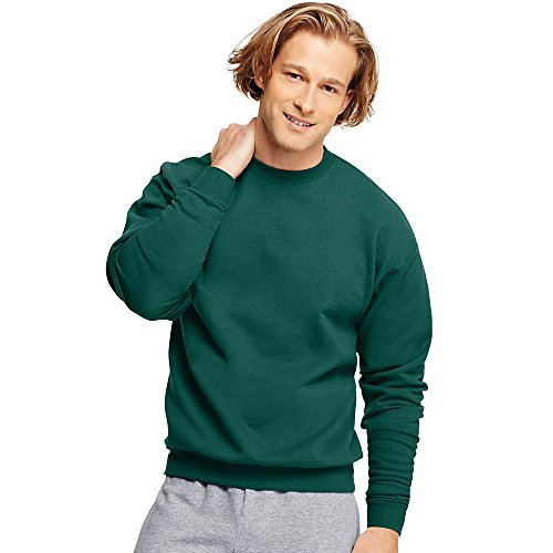 Hanes Adult ComfortBlend Crewneck Rib-Knit Fleece Sweatshirt, Deep Forest, M (Fleece Crew Sweatshirt Mens)