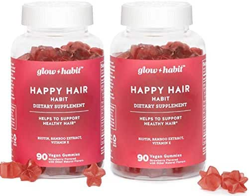 Glow Habit Hair Gummy Vitamins! 180 Gummies Strawberry Flavor! Blend of Biotin, Bamboo Extract, and Vitamin E! Delicious Gummy Formulated to Support Healthy Hair! Choose Your Gummy Count! (180ct)