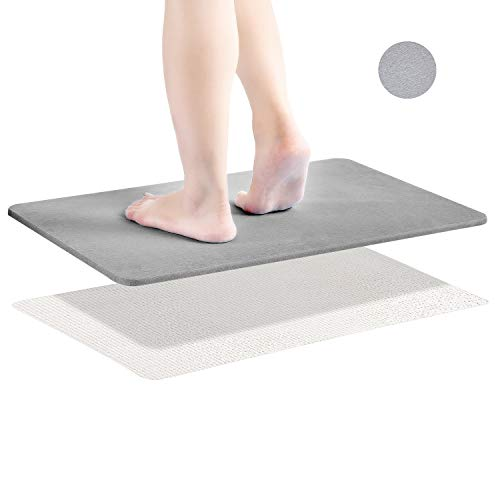 Diatomaceous Earth Bath Mat, Nonslip Absorbent Bath Mat - Fast Drying Hard Bathroom Floor Shower Mats with Additional Anti-Slip Mat, Sandpaper