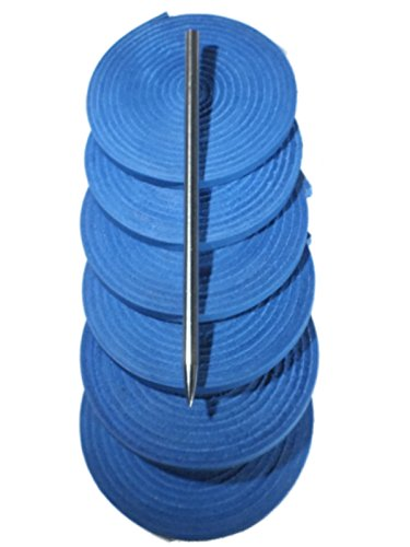 ball and Softball Glove Lace Kit, 6 Leather Laces, Leather Lacing Needle (Blue) ()